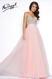 Mac Duggal 20059 Empire waist pink two-piece prom dress with embellished top. Style 20059M features astrapless beaded bodice with gathered tulle overskirt.