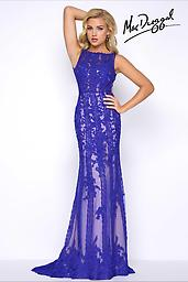 Mac Duggal 62820 in Royal Blue Sleeveless, boat neckline, slight mermaid, prom dress with nude lining, lace applique and slight train. Mac Duggal style number 62820 is available in Red or Royal Blue.