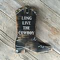 """Cowboy Boot, Cowgirl Boot Sign, Black, Western Home Decor, Country Western Decor, Cowboy Sayings - Boot Measurements are approx. 13"""" high x 10"""" wide. This piece is done in distressed black and has silver font and stenciling. Sawtooth hanger on back for easy mounting. Finished with a urethane."""