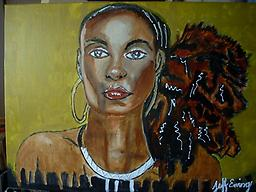 Beauty is in the Eye of the Beholder A beautiful painting of a lovely strong black woman created by Atlanta Artist Jeff Ewing