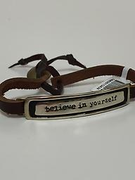 """Believe In Yourself"" Adjustable brown leather bracelet with alpaca silver plate and a message."