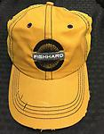 Yellow Mesh FishHard Hat - Yellow hat with a mesh back and a velcro adjustable back.