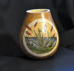 Cattail Vase Vase, made from a gourd, with a lake scene and cattails.
