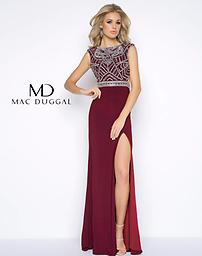 Mac Duggal 40611 Burgundy Jersey, high neck, sleeveless, column dress with beaded bodice, high slit skirt, and open back. This dress is available in both Burgundy and Midnight.