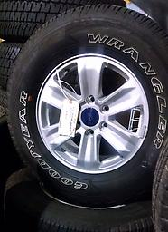 """17"""" F150 Alloy Wheels Tires 05-17 Goodyear This is a set of used Ford F150 Wheels, tires and center caps. 17"""" alloy wheel and Goodyear Wrangler owl tires."""