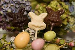 Chocolate Bunny Pops Make the children hop with bunny faced lollipops. Individually wrapped and in a package of six. Available in milk, dark, and white chocolate.