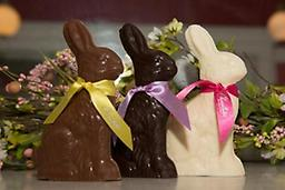 Chubby the Rabbit Great for baskets! Our solid sitting rabbit is artfully molded in premium milk or dark chocolate. Sure to please during the Easter season. 8oz.