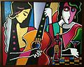 """Girls Night Out - Original painting, acrylic on canvas, 24x30"""" (framed)"""
