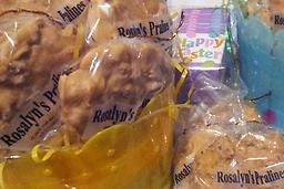 Easter Pralines by the Dozens Rosalyn's Easter Pralines are creamy rich, and chock-full of pecans, an Easter delight for all ages. Best in quality and taste, Rosalyn's Easter Pralines. Order yours today.