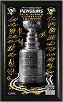 2017 Stanley Cup Team Signatures - The coveted Stanely Cup trophy is featured on a 10 x 18 glossy photo with the facsimile (exact replica) signatures of the 2017 Stanley Cup Champions roster and delivered in a 12 x 20 frame with a glas