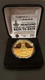BACK to BACK Stanley Cup Champions Gold Coin 2017 Back To Back Stanley Cup Champions Gold plated limited edition coin by the Highland Mint