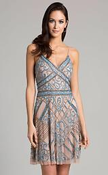 Lara 33406 Champagne/Turquoise Sleeveless Dress Slender spaghetti straps secure the V-necked bodice of this dress, & crossover bands bring out a curvy shape. Bright, beading adds sparkling accents while the bias-cut skirt flows down to the hemline.