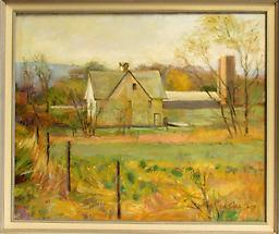 Meadow and Farm A painting of a farm and the meadow that sits beside it.