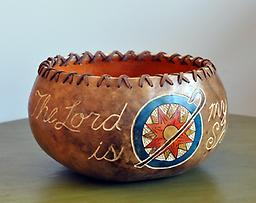 """Lord is My Shepherd bowl Gourd bowl with """"The Lord Is My Shepherd"""" carved into it, with a shepherd's crook and a sunshine."""
