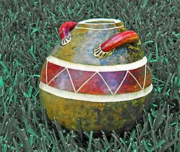 Gourd Pot with Handles A gourd pot with a red zigzag design and red handles.