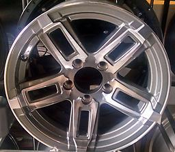 """15"""" Machined / Charcoal Trailer Wheels 15x6 5x4.5 Set of four new 15"""" Trailer Wheels & Center Caps Face is gray (charcoal) / Machined. Includes stainless caps."""