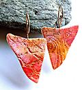 Journeys Earrings - Edgy sharkbite shape in rose and gold pastel colors feature deep texture and tiny micro stone inlay