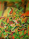 """Miami Hurricanes - An abstract painting creates by spray paint and Acrylics on canvas to reveal a Miami based theme painting created by Atlanta Artist Jeff Ewing. Video on youtube keywords- """"Jeff Ewing Miami hurricanes"""""""