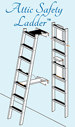 The 8 ft Attic Safety Ladder The Attic Safety Ladder swings up onto the wall when not in use or lifts out of holding brackets for use elsewhere. Guaranteed tip-proof!