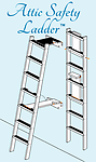 The 8 ft Attic Safety Ladder - The Attic Safety Ladder swings up onto the wall when not in use or lifts out of holding brackets for use elsewhere. Guaranteed tip-proof!