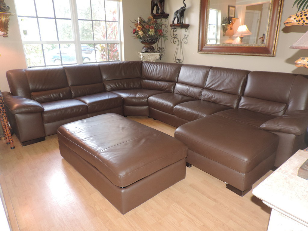 Chocolate Leather Italsofa 5 Pc Sectional