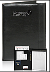 Black Writers' Leatherette Padfolio - Black Writers' Leatherette Padfolio. 4 pockets, 1 tablet pouch, 1 pen holder. Helping Veterans Achieve Logo Etched on Front.