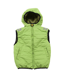 Ducksday Bodywarmer Vest (Funky Green) Reversible! One side printed, one solid. A sleeveless vest for boys or girls. For use all year round, those days where it is too warm for winterjacket, too cold with only long sleeve…