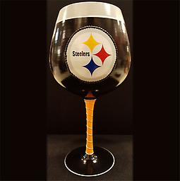 Hand Painted Artisan Steelers Wine Glass 33oz Wine Glass for the Steeler fan in your life that just can't get enough!