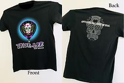 Short Sleeve True-Lee New Mexico T-Shirt T shirt features the True Lee New Mexico hot air balloon on the front and a gray scale sugar skull on the back.