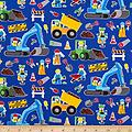 Trucks on Blue fac-0344973 - Fun print of work trucks that kids are fascinated with. For ages 2 years - 7 years. Soft comfortable cushioned mattress with all the rest for a good sleep.