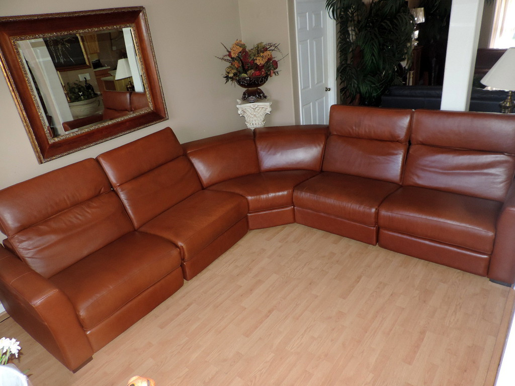 Macy S Nicolo Cognac Leather Triple Power Reclining Sectional