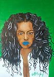 Ms. Blue Lips - Portrait of a beautiful woman with blue lips. Created by Atlanta Based Artist Jeff Ewing