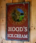 Hood Ice Cream Sign - Large wooden Hood sign 31 1/2 inches wide and 50 inches tall Not available for shipping