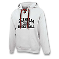 "DOUBLE LACE PULL OVER HOODIE WITH PHONE POCKET - High-quality hoodie with hidden phone pocket, double maroon and black laces with screen-printed ""Seaholm Girls Basketball""."