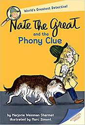 Nate the Great and the Phony Clue Early one morning, a torn slip of paper with mysterious letters V I T A appears on Nate the Greats doorstep. He and his faithful dog, Sludge set off to solve this latest mystery.