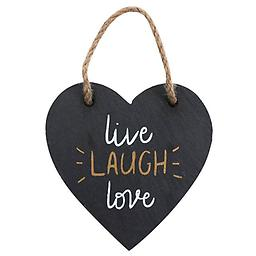 """"""" Live, Laugh, Love"""" slate, hanging heart decoration. Approx height 8cm, width 8.5cm and depth 0.6cm."""