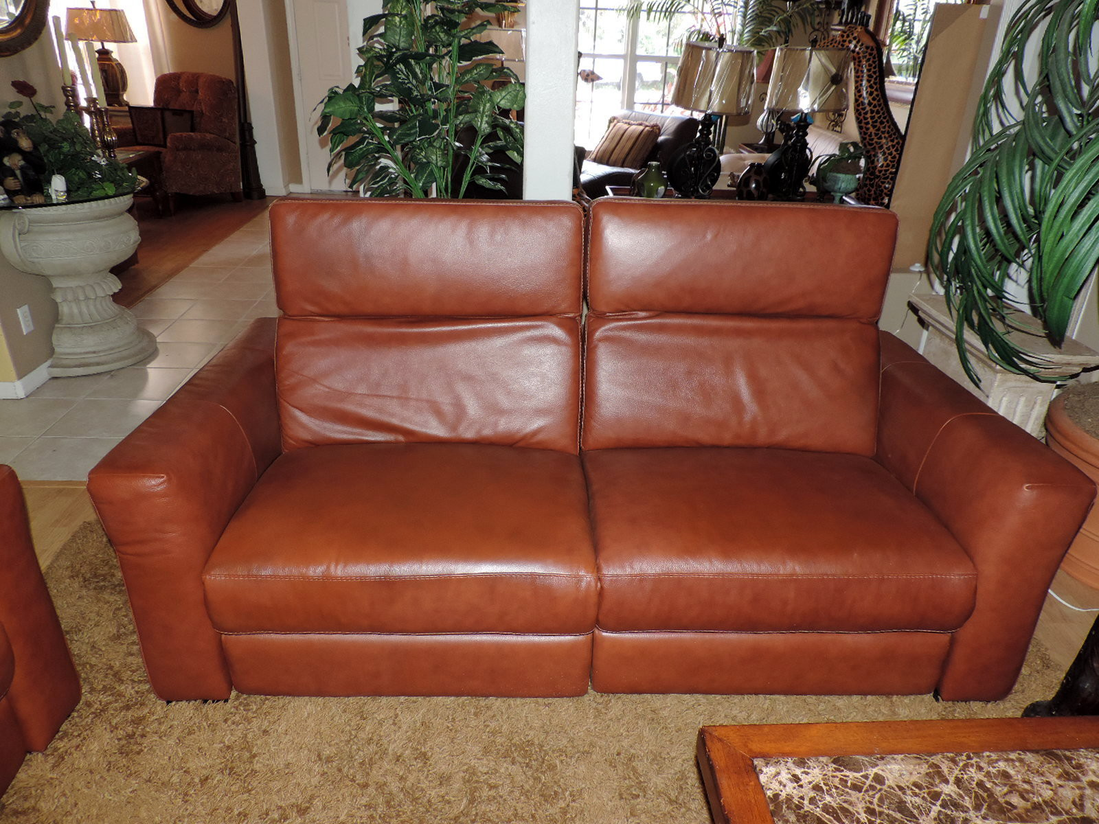 Macy S Nicolo Cognac Leather Dual Electric Reclining Sofa