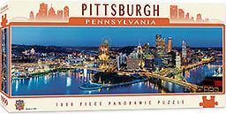 """1000 Piece Pittsburgh Panoramic Puzzle 1000 Piece """"Masterpieces"""" Puzzle of James Blakeway's beautiful panoramic of Pittsburgh's Skyline at night"""