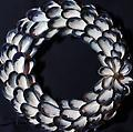 Large Mussel Shell Wreath With Flower - Hand picked Mussel Shells
