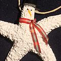 Painted Snowman Ornament - Carefully crafted from both local and carribean shells