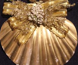 Gold Scallop Ornament Carefully crafted from both local and carribean shells