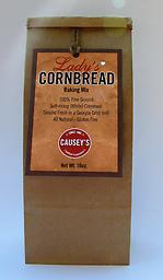 Lady's Cornbread Baking Mix One bag of Lady's cornmeal. This 16oz bag will make 1 - 9x9 pan cornbread or, if doubled, will make 1 - 11x15 pan of cornbread. No worries, Lady's Cornbread recipe is on the back of the hang tag.