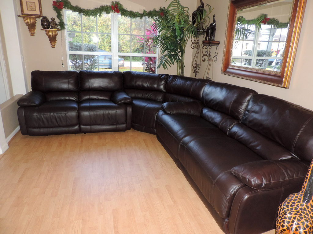 Macy S Nina Brown Leather Power Reclining Sectional Sofa