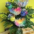 rainbow rose and rainbow mums glittered - half dozen rainbow rose and rainbow mums with glitter