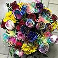 Extra large mixed bouquet - freshest rainbow roses, red roses, mums, daisiez. glittered! and huge!