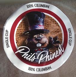 Phil's Phinest 100% Colombian-Phil Cup Phil personally paw-approved this coffee! Hand-picked at the peak of ripeness, our 100% Colombian coffee is medium roasted to yield a full-bodied cup of coffee with a rich aroma and smooth finish.