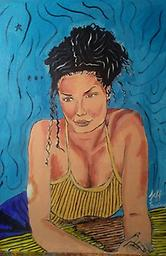 Beautiful Aileen A painting of a beautiful gorgeous women with a light blue background done by Atlanta Artist Jeff Ewing for Iller Art Studios 2018