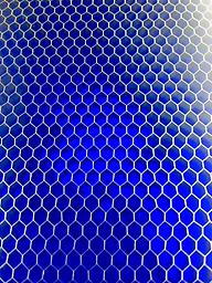 """Blue Transparent Ctek 6""""x 6""""x .3/8"""" (1/8"""" cell) Unique material made from an aircraft grade aluminum honeycomb mesh encased in a high impact epoxy resin."""