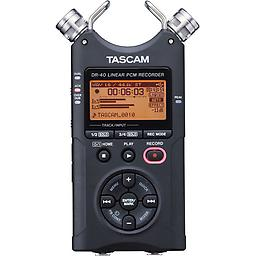 TASCAM DR-40 4-Track Portable Digital Recorder XLR / TRS balanced MIC/LINE inputs with phantom power. Switchable microphone position from X-Y to A-B. 4-track recording, built-in microphones, and mic inputs. Up to 24 bit resolution.