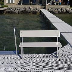 4' Bench Assembly ( Color of Choice ) Pure Harbor's 4' Bench Assembly comes in 3 color choices: White - Grey - Tan. The bench is made out of top grade aluminum & is powder coated to color. It can be installed to any dock system!